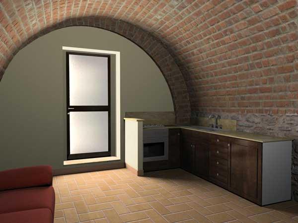 Rendering 3d interni monolocale for Rendering 3d interni